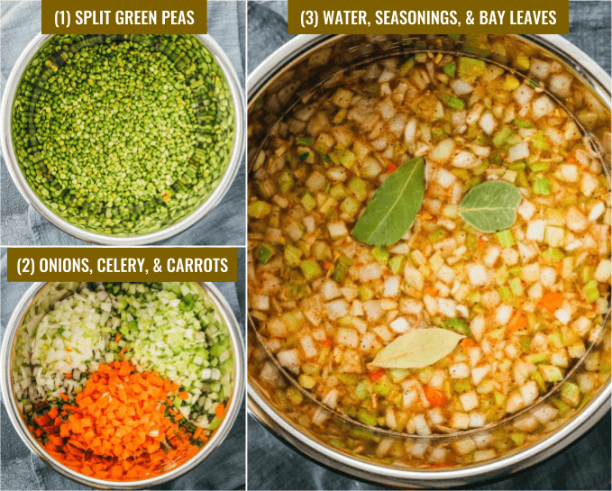step by step collage showing ingredients on how to make instant pot split pea soup