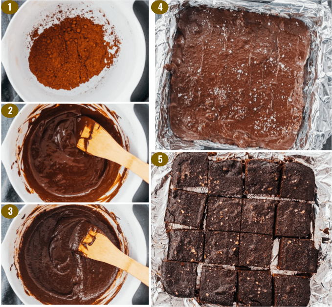 step by step collage showing how to make keto brownies