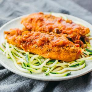 chicken cacciatore served over zucchini noodles