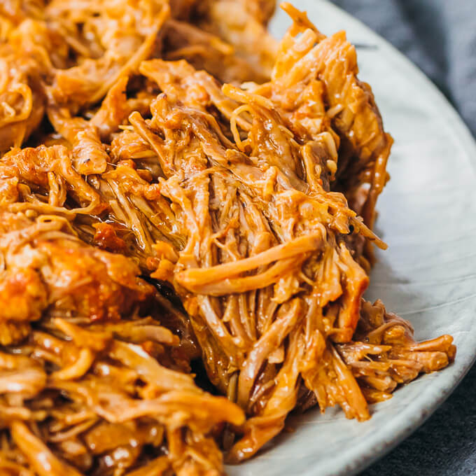up close view of low carb and keto pulled pork carnitas