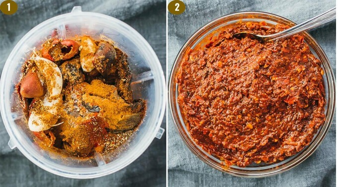 adobo sauce ingredients before and after blending into a paste like consistency