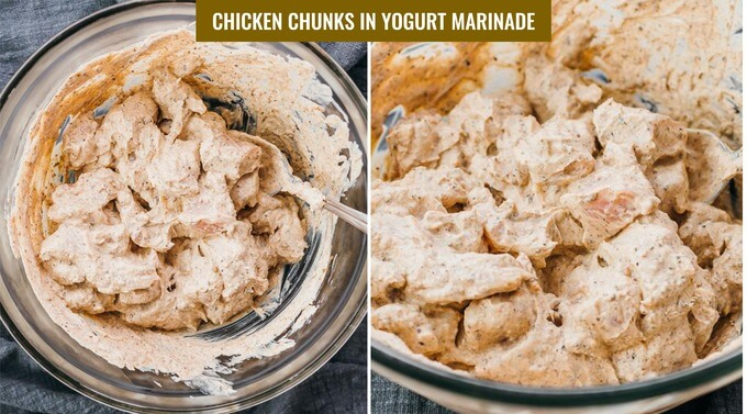 low carb chicken tikka masala marinating in authentic yogurt mixture