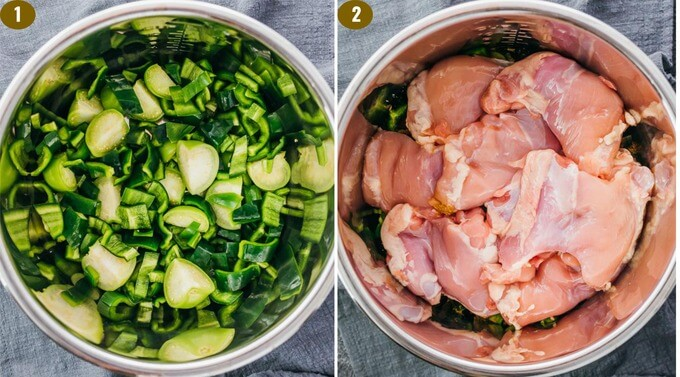 add tomatillos peppers and chicken thighs for an easy pressure cooker meal