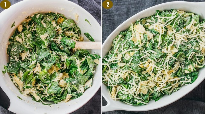 step by step showing how easy it is to make a cheesy fresh spinach artichoke dip