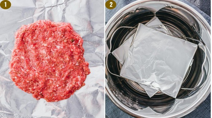 images showing how to make burger patty to steam in the instant pot pressure cooker