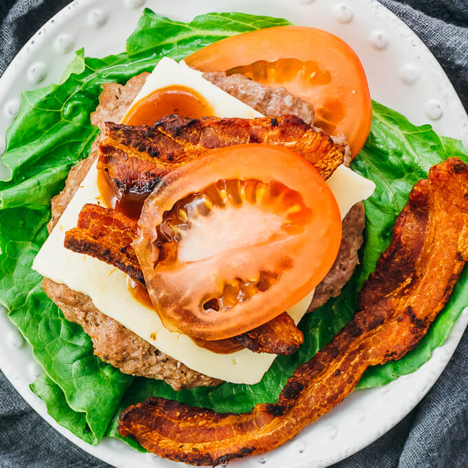 low carb and keto deconstructed burger plate