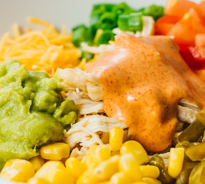 up close view of mexican burrito bowl ingredients that can be used in tacos or enchiladas or burritos