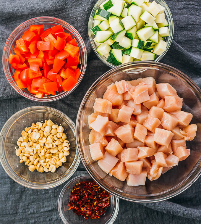 ingredients for making kung pao chicken