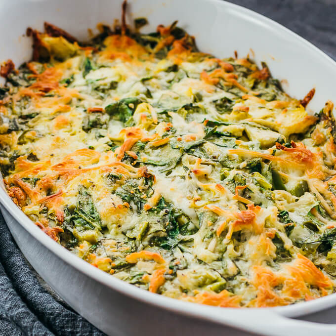 close up view of spinach artichoke dip
