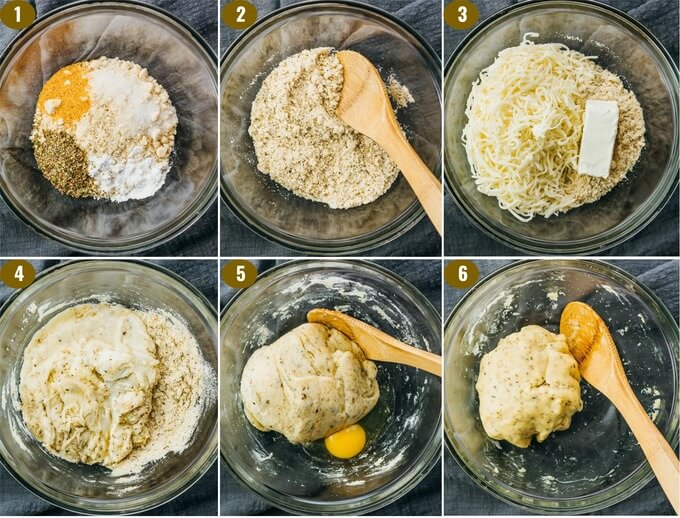 step by step on making keto garlic knot dough