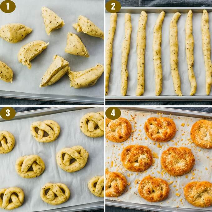 step by step on forming dough into garlic knots