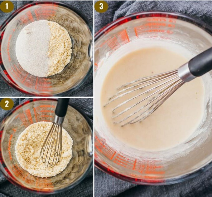 step by step collage showing how to make keto pancakes with almond flour