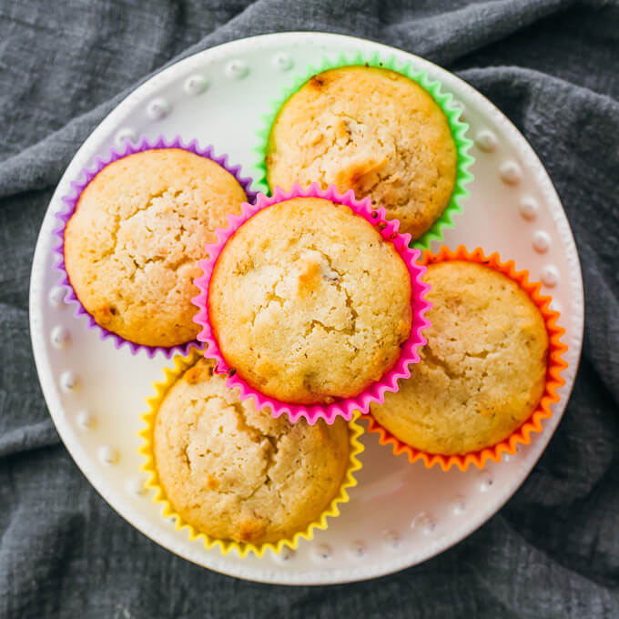 banana nut muffins on white plate