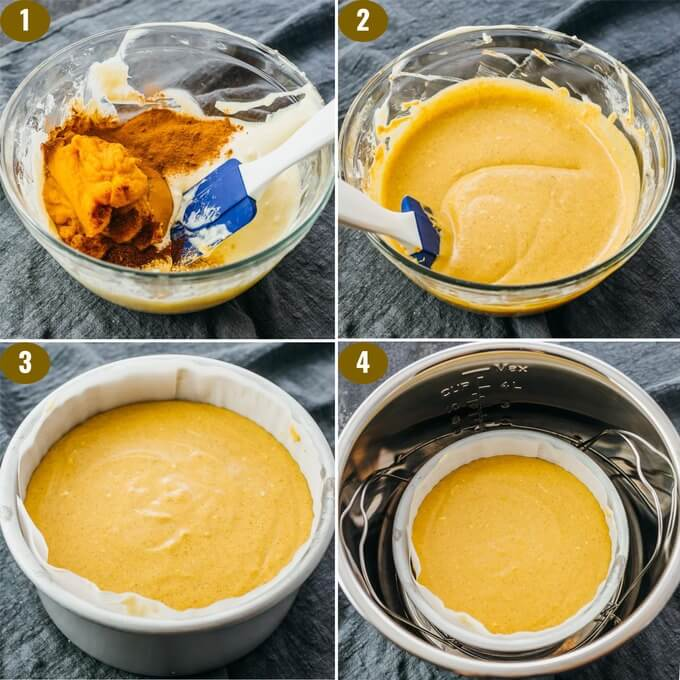 making low carb pumpkin cheesecake filling for the instant pot