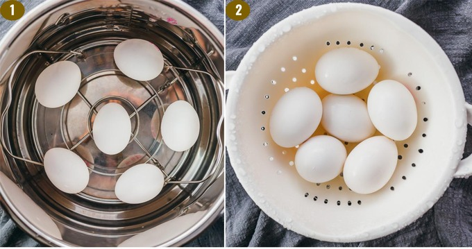 showing how to make perfect hard boiled eggs in the instant pot pressure cooker