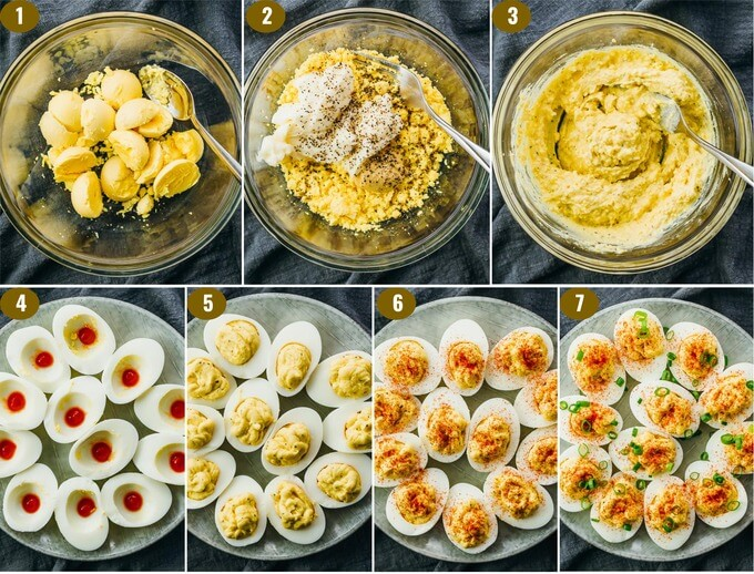 step by step on how to make low carb spicy deviled eggs with bacon