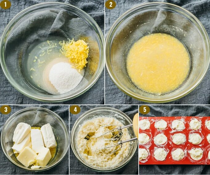 collage showing how to make lemon fat bombs