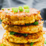 close up view of cauliflower fritters