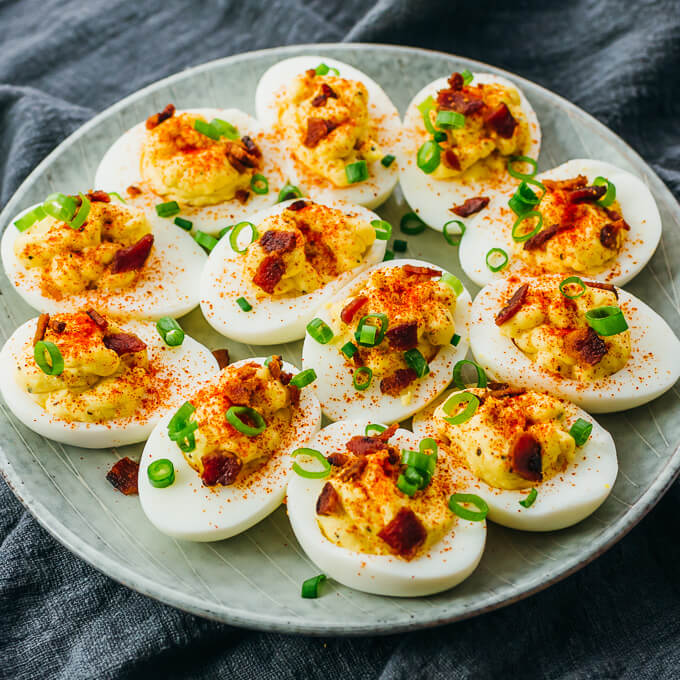 spicy keto deviled eggs made in the instant pot