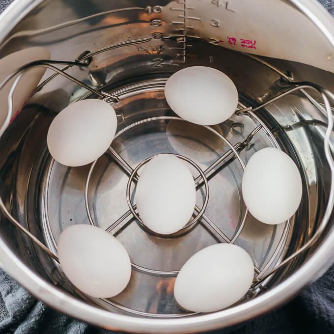 eggs inside instant pot for hard boiling