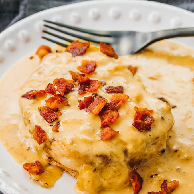 keto and low carb instant pot pork chops smothered with bacon gravy