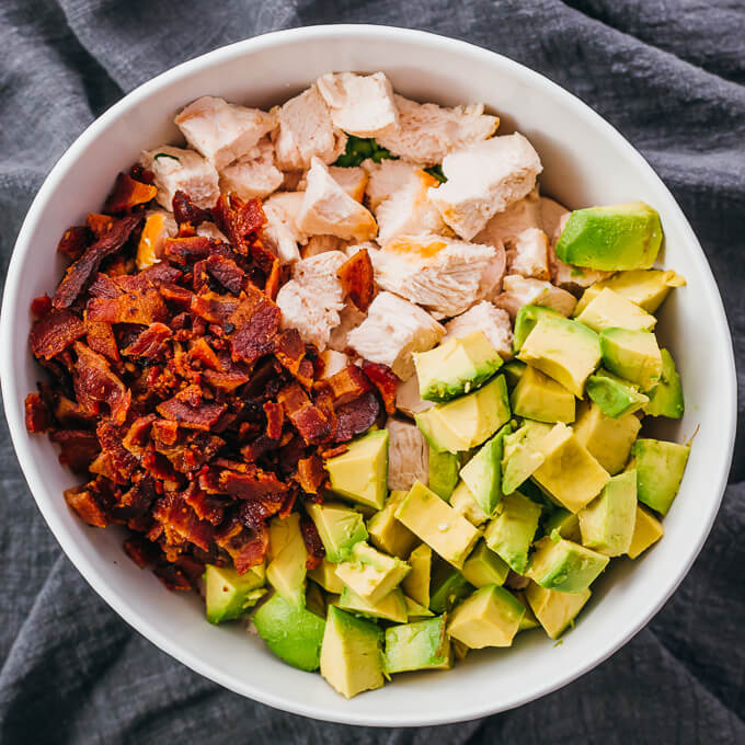 showing how to make healthy chicken salad with avocado and bacon