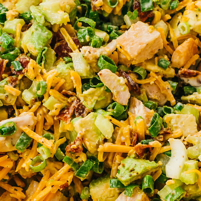 closeup view of avocado bacon chicken salad