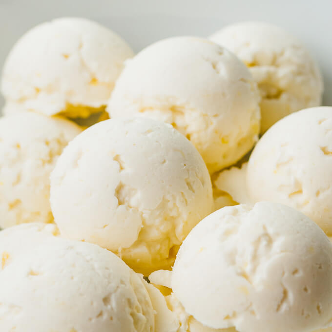 close up view of round cream cheese fat bombs