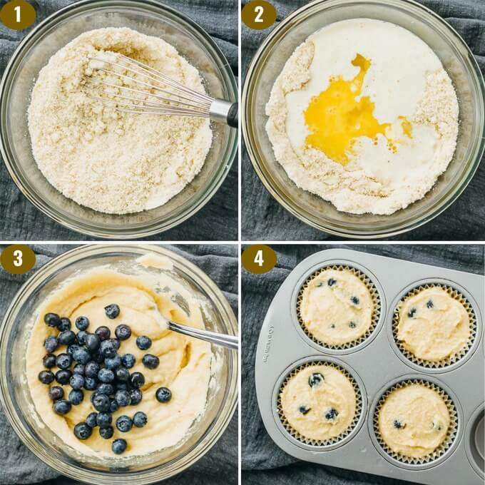 step by step images on making muffins with almond flour and blueberries