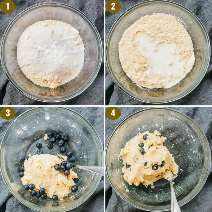 using almond flour and coconut flour to make gluten free blueberry scones