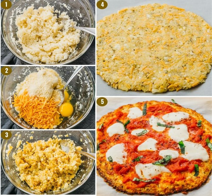step by step images of making keto friendly cauliflower crust