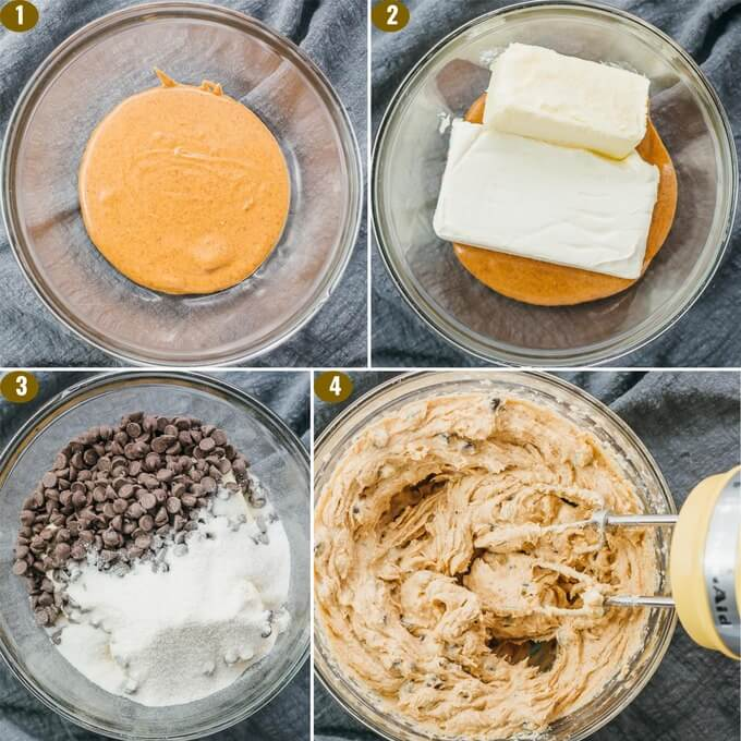 step by step photos on how to make low carb cookie dough fat bombs with cream cheese and butter