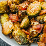 close up view of roasted brussels sprouts