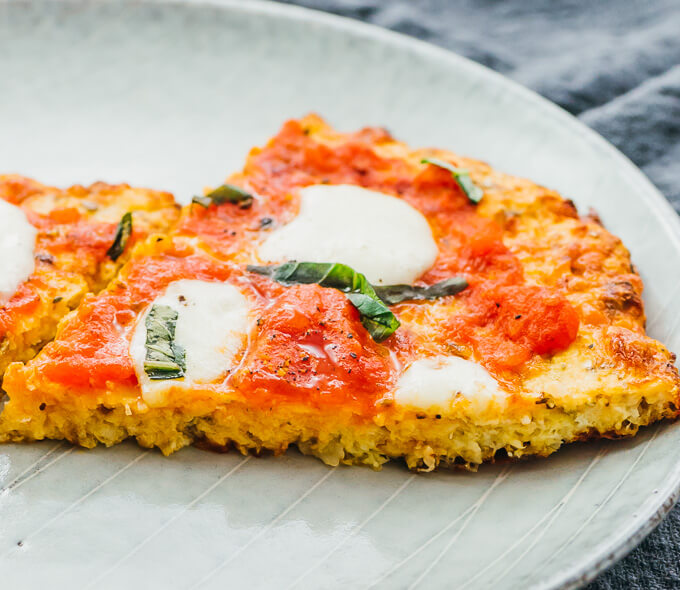 close up view of cauliflower crust pizza slices