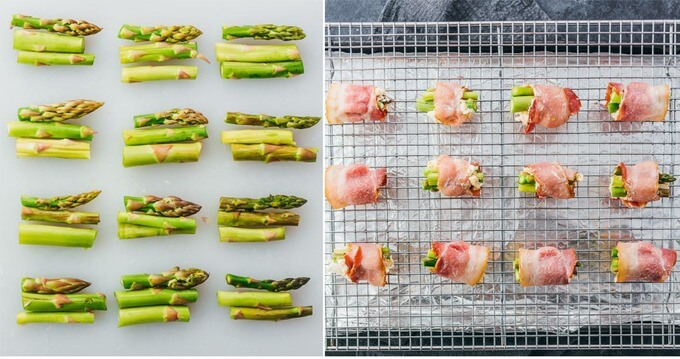 forming asparagus bundles wrapped with bacon and placed on a baking rack
