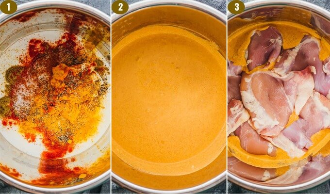 step by step image showing how to mix tandoori spices and coconut milk to create the curry base