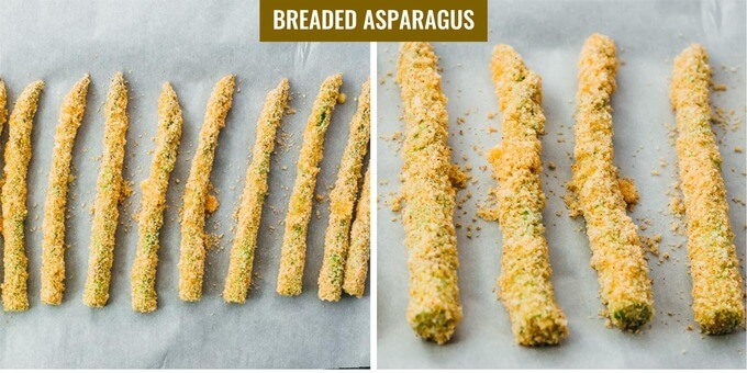 low carb breaded asparagus spears before deep frying