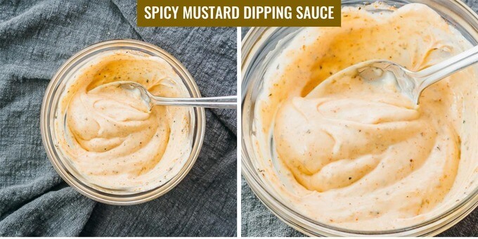 making a spicy mustard mayo dip for fried asparagus
