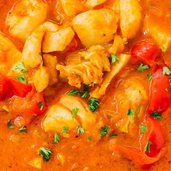 closeup view of cod in pressure cooked fish stew