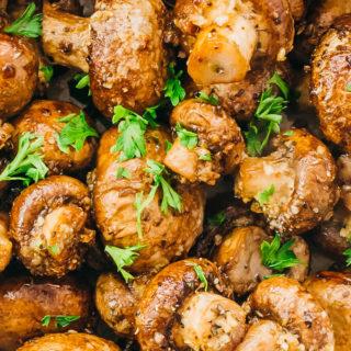 close up view of garlic roasted mushrooms