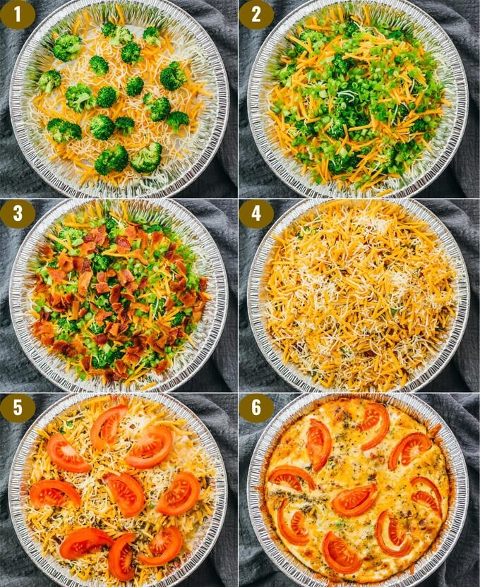 step by step collage showing how to make quiche that is low carb and crustless