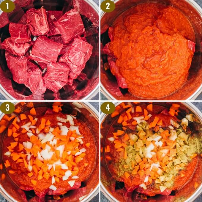 step by step collage showing how to make ragu in the pressure cooker