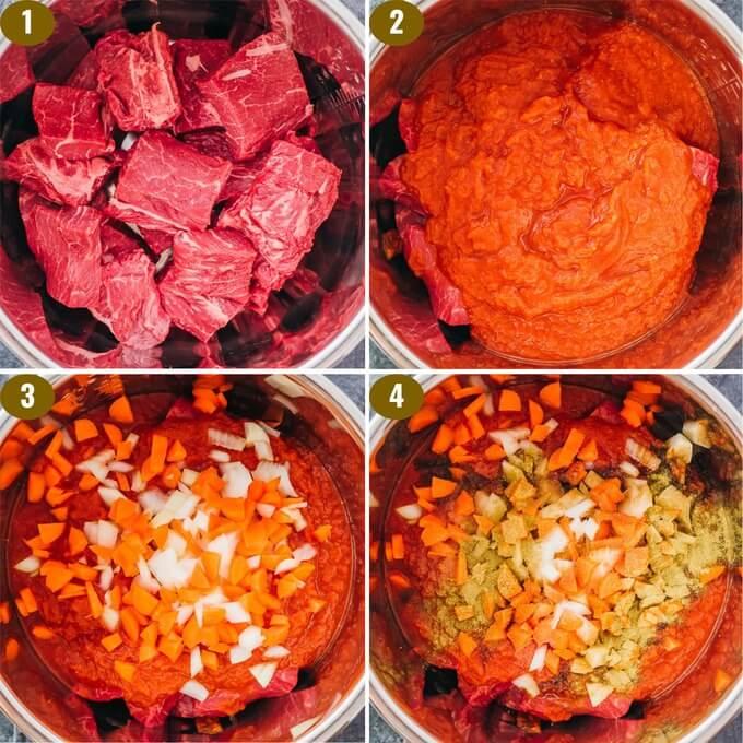 adding beef ragu ingredients to instant pot