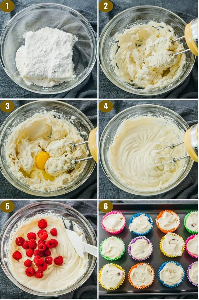 step by step collage showing how to make low carb cheesecake filling
