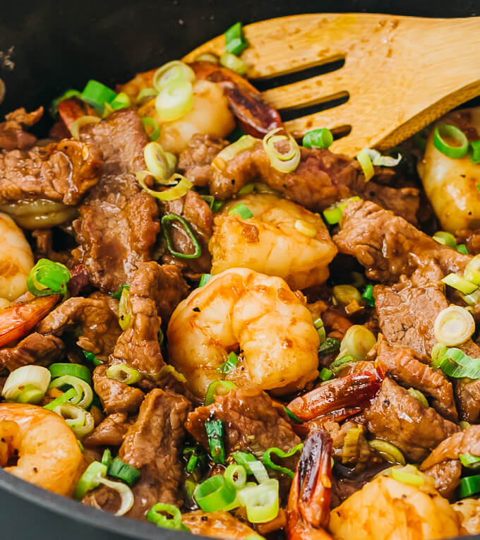 closeup view of beef and shrimp cooked with the best stir fry sauce