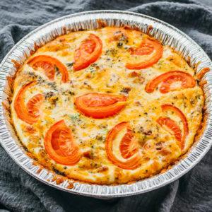crustless quiche in pie dish