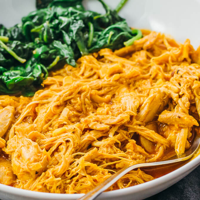 closeup view of low carb shredded tandoori chicken