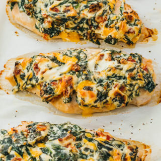 close up view of baked chicken breasts