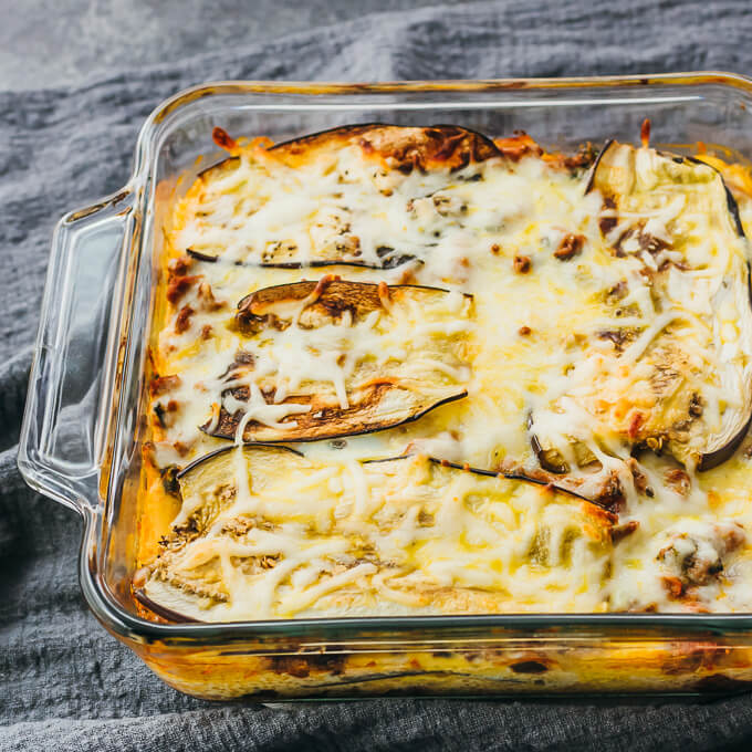 baked eggplant lasagna in glass dish