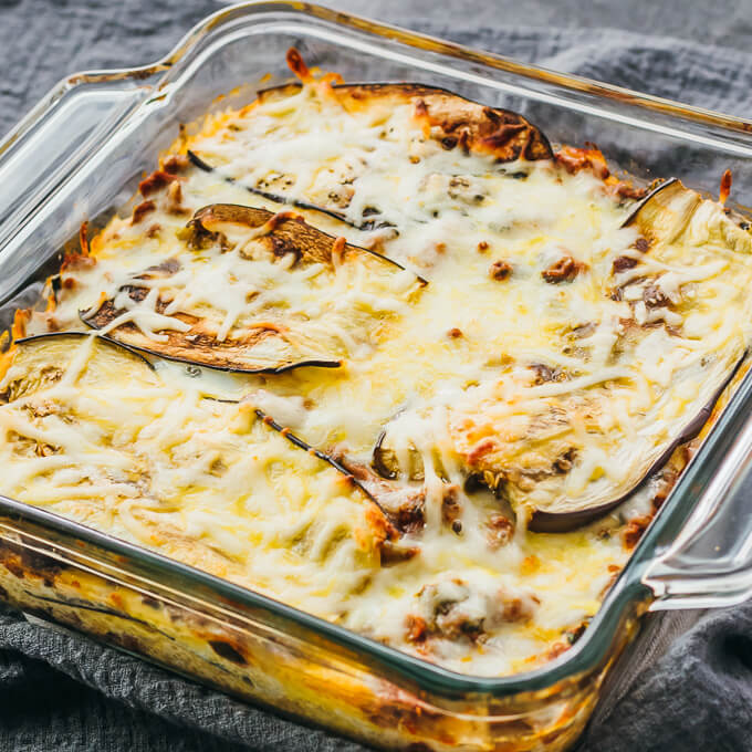 eggplant lasagna in glass dish served as a keto dinner